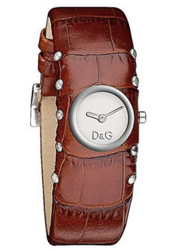 D&G Ladies Cottage Quartz Watch DW0353 With Silver Analogue Dial And Brown Leather Strap