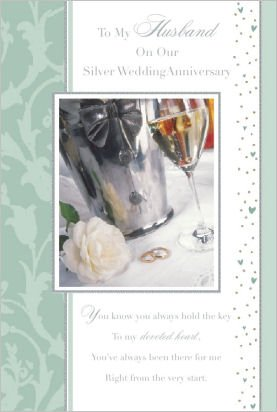 Husband 25th/Silver Wedding Anniversary Greeting Card