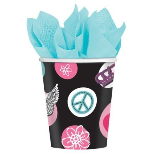 Rock and Roll Princess Rocker Teen Girl Party Supplies Favors 9oz Paper Cups 8pk