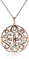"Sterling Silver Circle Heart Diamond Pendant Necklace (1/5 cttw, I-J Color, I2-I3 Clarity), 18"" from JPI"