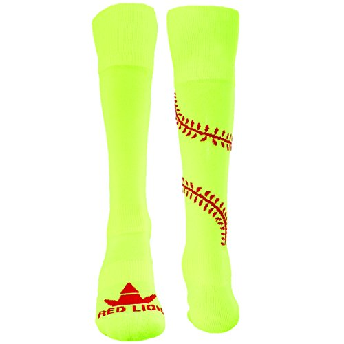 Red Lion Play Ball Knee High Athletic American Made Socks ( Neon Yellow / Red - Small ) (Womens Slow Pitch Softballs compare prices)