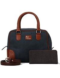 Rivet Dark Blue Hand Bag With Brown Belt & Ladies Wallet