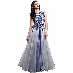 Sanjana Design Women's Georgette western cream gown ( KS7291_Free Size_gray)
