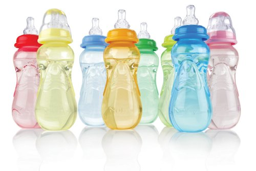 Nuby 3 Pack Bottles, 10 Ounce, Colors May Vary
