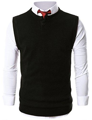 ohoo-mens-casual-crewneck-henley-sweater-button-vest-dcv005-black-s