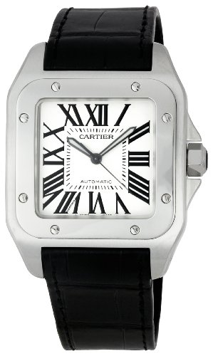 Cartier Men's Santos 100 38mm Black Leather Band Steel Case Automatic Silver-Tone Dial Watch W20073X8