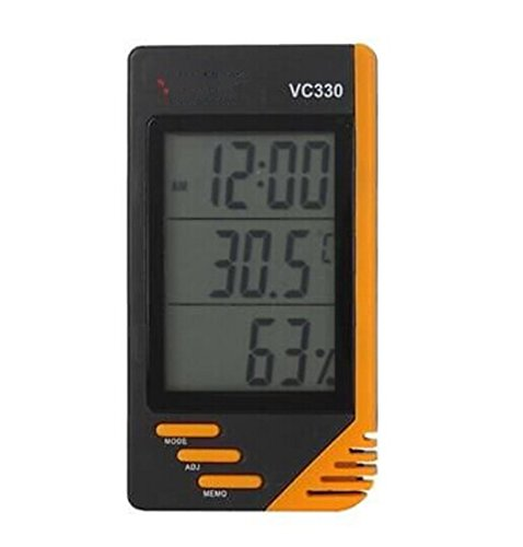 Digital Lcd Indoor Thermometer Hygrometer Clock Temperature Humidity Meter