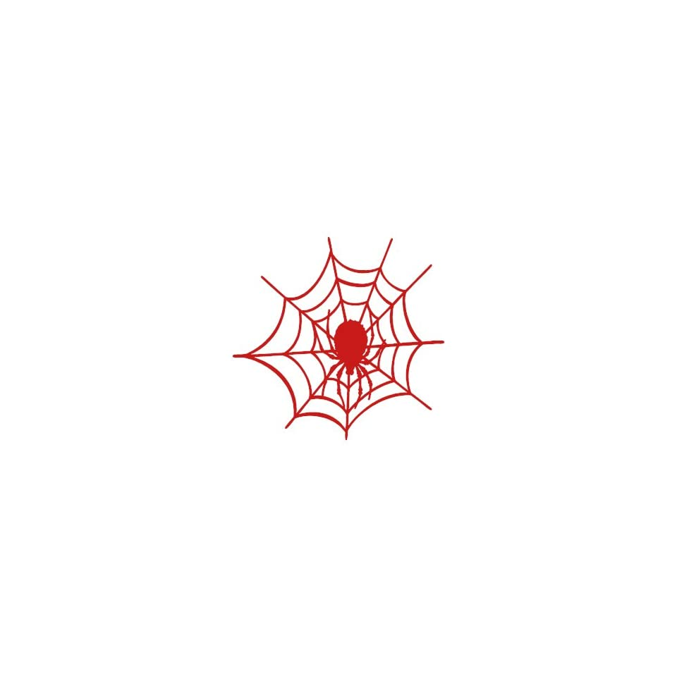 Spider Web small 3 Tall RED vinyl window decal sticker