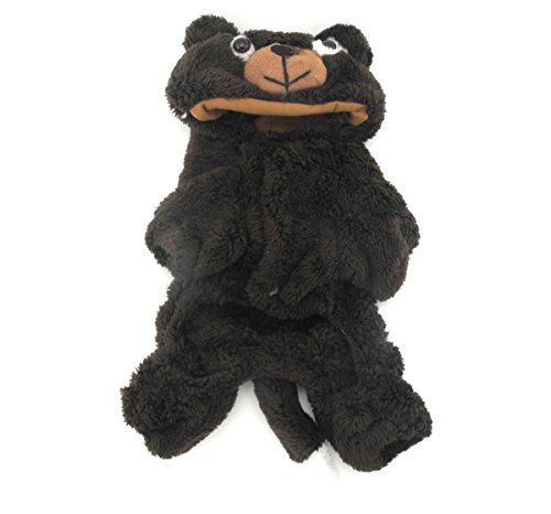 [SMALLLEE_LUCKY_STORE Pet Small Dog Cat Clothes Warm Coral Velvet Bear Costume Halloween Dress Up Coffee] (Bear Dog Costume)