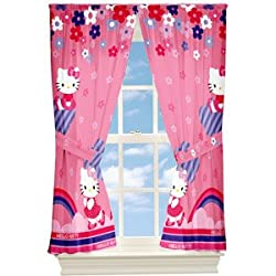 Hello Kitty Flower Window Panels Drapes Curtains, Set of 2