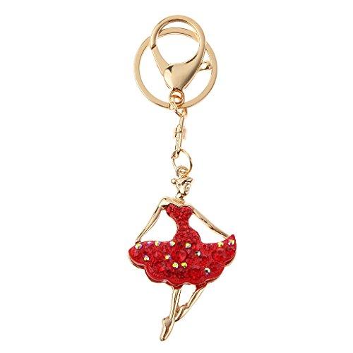 Ballerina Del Rhinestone Di Figura Del Keychain Fascino Borsa Portachiavi Rosso