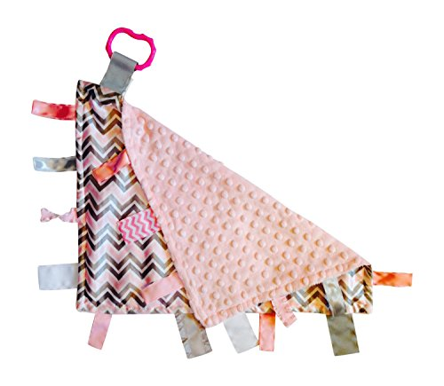 Pink Gray Chevron Baby Tag Blanket - Sensory - Ribbons Sewn Shut Into Tabs - Satin and Minky Plush - Perfect Baby Shower Gift - Nursery Accent - 1