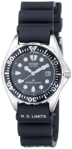Citizen Women's EP6000-07H Eco-Drive Professional Diver Black Rubber Strap Watch