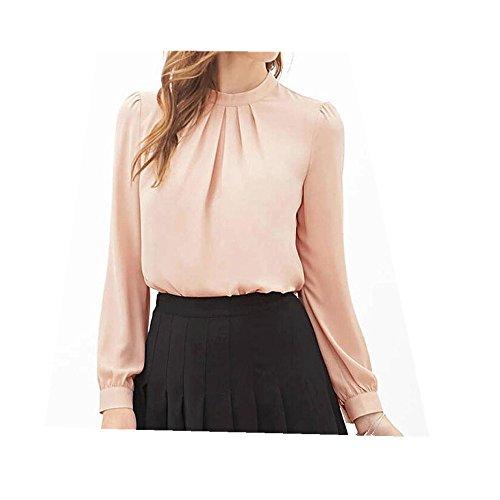 Fortan Estate delle donne Fold allentato la camicia del chiffon manica lunga casuale supera la camicetta (small, Rosa)
