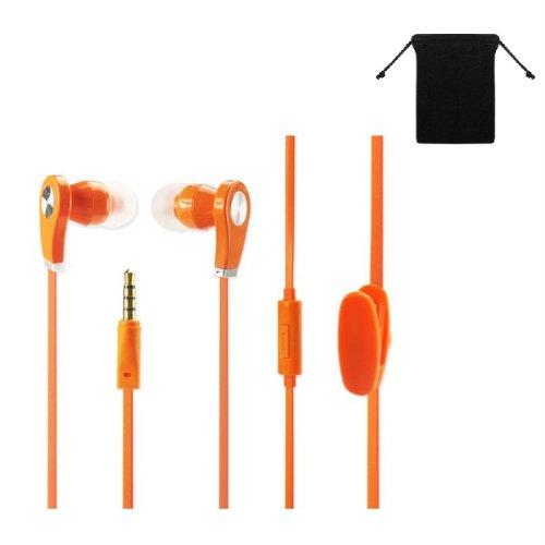 Premium 3.5mm Stereo Handsfree Headset Earbuds Earphones Headphones for Amazon Kindle Fire HD 8.9 ( Orange ) w/ Anti-Tangle Flat Wire + Carry Bag