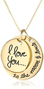 """Sterling Silver Yellow-Gold Flashed """"I Love You To The Moon and Back"""" Two Piece Pendant Necklace, 18"""" by LA Rocks"""
