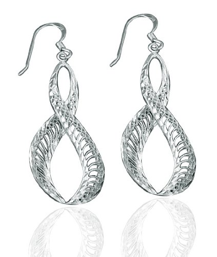 Clevereve Designer Series .925 Sterling Silver Diamond Textured Infinity Dangle Earrings - French Wire 32.00 X 15.00Mm