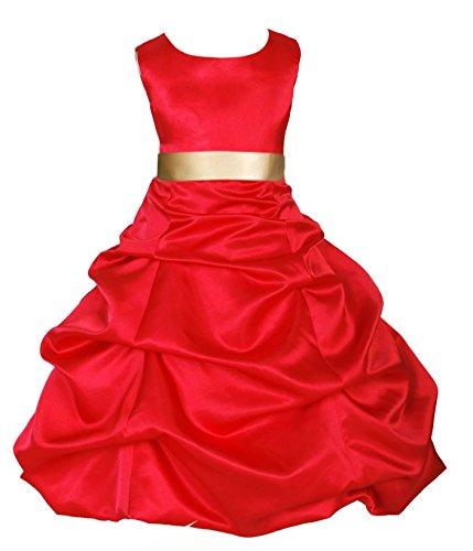 Wedding Pageant Red Flower Girl Full Length Dress 806S1 4
