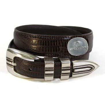 Oregon Kids Dark Teju Leather Belt with Emblems Size: Medium Brown