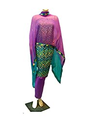 Lov Kush Unstiched Phulkari Salwar Suit (Peacock)-Decent Collection