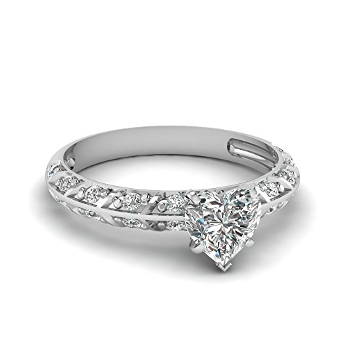 Fascinating Diamonds 0.70 Ct Heart Shaped Diamond Crusted Knife Edge Engagement Ring Pave Set D-Color Gia