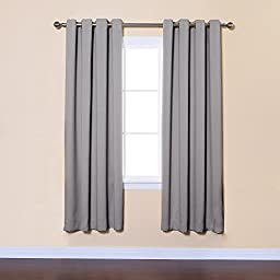 Best Home Fashion Premium Thermal Insulated Blackout Curtains - Antique Bronze Grommet Top - Grey - 52\
