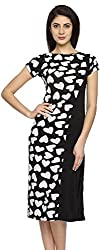 Texco Garments Women's A-Line Dress (28, Black and White, S)