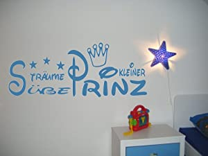 Wandtattoo kinderzimmer kind baby text s e tr ume kleiner prinz krone und sterne f r - Wandtattoo jungen kinderzimmer ...