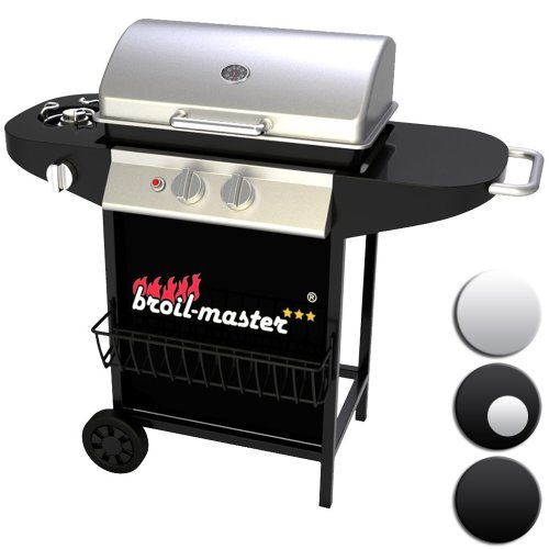 broil-master® Bbqg02euswzslb Gas Grill Bbq Professional 2 Burner Gas Wagon With Side Burner 2 +1 Black Silver