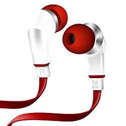 NoiseHush White Red NX80 3.5mm Stereo Headphones for Apple iPhone 4 4S iPad