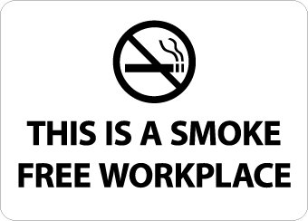 NMC M761AB No Smoking Sign, Legend THIS IS A SMOKE FREE WORKPLACE with Graphic, 14 Length x 10 Height, Aluminum 0.40, Black on White nmc w6ab osha sign legend warning lead work area poison no smoking or eating 14 length x 10 height aluminum black on orange