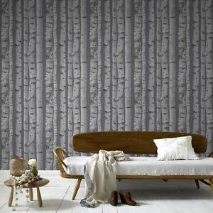 Fresco Trees Wallpaper - Grey by New A-Brend
