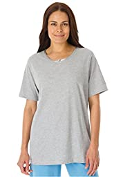 Dreams & Co. Women\'s Plus Size Sleepwear Tee Heather Grey,3X