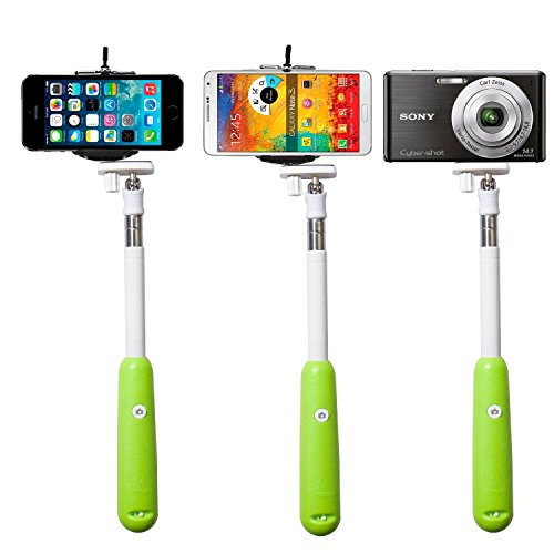 2014 New!!!Savfy® Green *Build-In Bluetooth Shutter* Universal Selfie Self-Portrait Extendable Telescopic Handheld Pole Arm Monopod Camcoder/Camera/Mobile Phone Tripod Mount Cradle For Iphone,Samsung, Moto G,Htc, Nokia,Blackberry Etc.