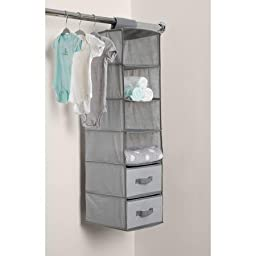 Delta Children 6-Shelf Hanging Storage Unit with 2 Drawers, Grey
