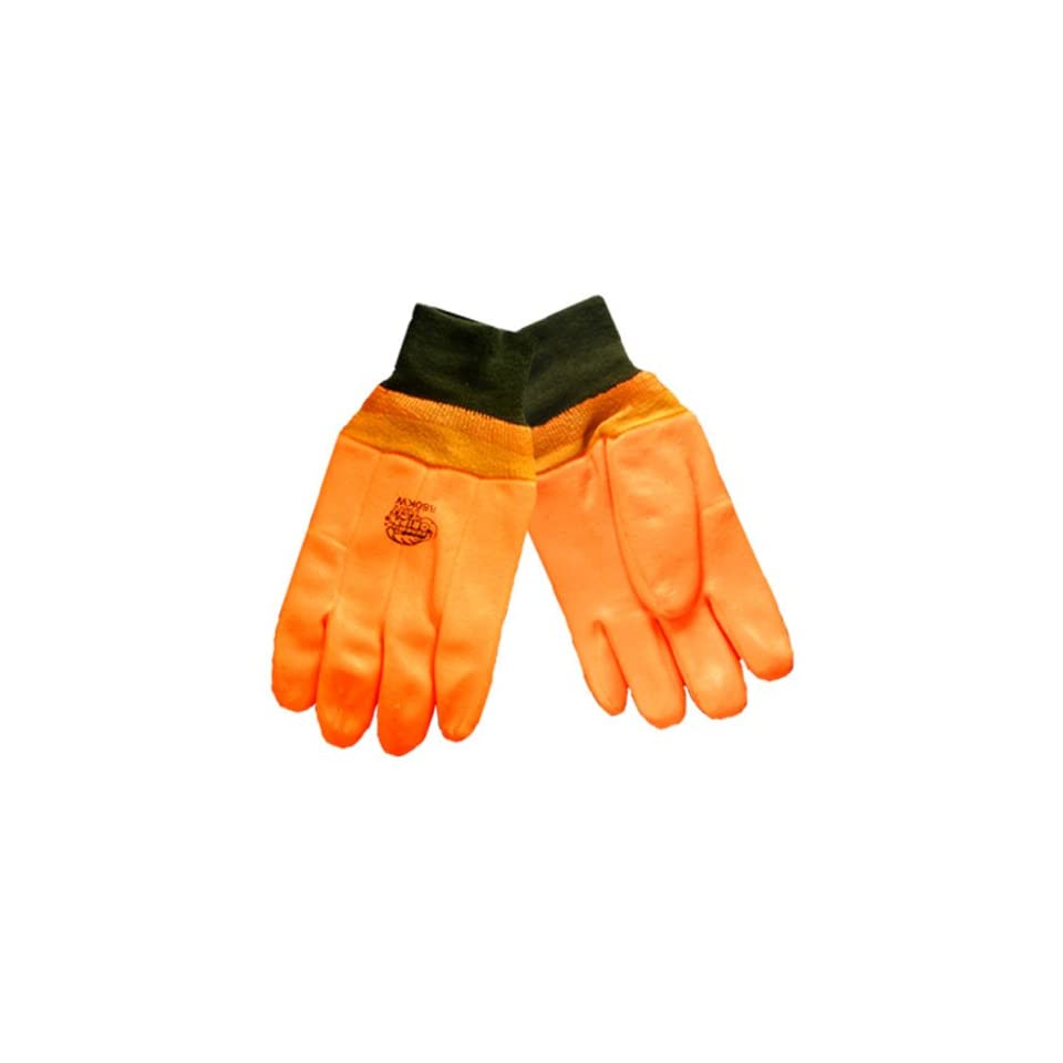 Global Glove 880KW FrogWear PVC Double Dipped High Visibility Glove with Knit Wrist Cuff, Chemical Resistent, 1 Size, Orange (Case of 72)