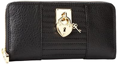 Juicy Couture 真皮长款钱包Signature Leather Zip Wallet$69.36黑