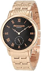 Rudiger Men's R3000-09-007 Leipzig Rose Gold IP Black Dial Roman Numeral Watch
