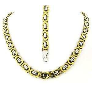 "Men's Stainless Steel Two Tone Mechanic Style Byzantine Bracelet 8.5"" & Chain 26"" Set"
