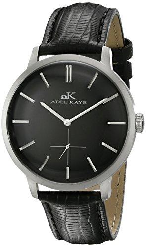 Adee Kaye Classique AK2225-MBK 47.68x42.14mm Stainless Steel Case Black Calfskin Mineral Men's Watch