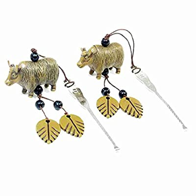Move&Moving(TM) Cattle Hanging Ornament Steel Earpick Earwax Removal Cleaner Tool 2 Pcs