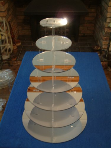 7 Tier 5mm Thick Mirror Acrylic Cupcake Wedding Party Cup Cake Display Stand by Classikool®