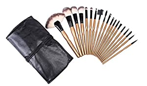 LOUISE MAELYS Two-tone 19pcs Makeup Brushes Cosmetic Kit PU Leather Roll Pouch Gold