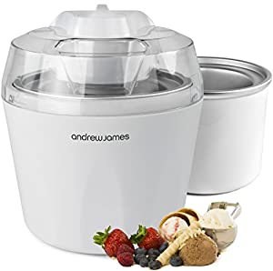 """Andrew James Ice Cream, Sorbet and Frozen Yoghurt Maker Machine 1.45 Litre With Additional/Spare Freezable Ice Cream Bowl + 128 Page Recipe Book - As voted """"Best Buy"""" Ice Cream Maker By Which Magazine"""