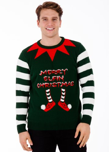 Elfin Christmas Green - Mens Christmas Sweater by British Christmas Jumpers