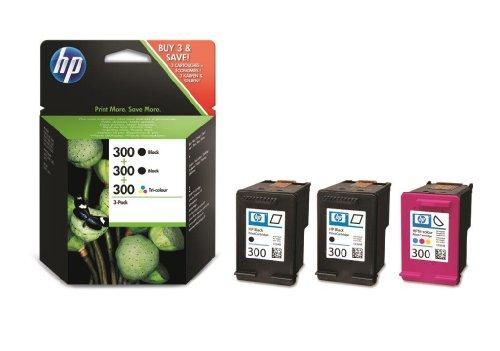 HP 300 Multipack Original Druckerpatronen (2x Schwarz, 1x Farbe) für HP Deskjet, HP ENVY, HP Photosmart