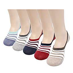 5 Pairs Mens Casual Fashion No show Fake Liner Flat Boat Line Color Socks Top Mesh C