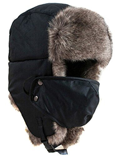 Hengsong Unisex Proof Trapper Hat Thicken Snow Ski Hat Cap Winter Warm Sport Outdoor Ear Flaps Bomber Caps Russian Hat (black)
