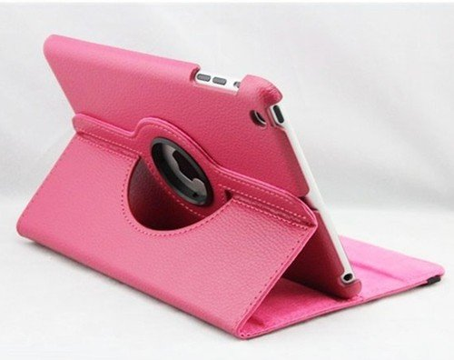 >>  Hot Pink New iPad Mini Folio 360 Degree Rotating Magnetic Smart Cover Skin Sleeve PU Leather Case