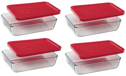 Pyrex 3-Cup Rectangle Food Storage (Pack of 4 Containers) (Glass Freezer Storage compare prices)